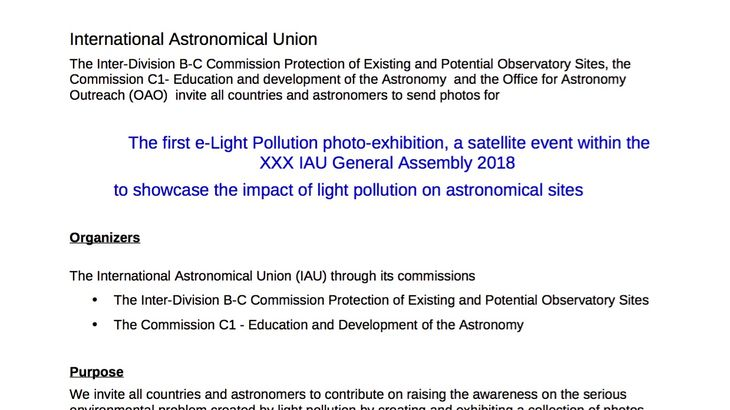 The first eLight Pollution photoexhibition